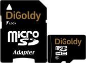Карта памяти DiGoldy microSDHC (Class 10) 16GB + адаптер [DG016GCSDHC10-AD]