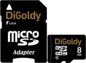 Карта памяти DiGoldy microSDHC (Class 10) 8GB + адаптер [DG008GCSDHC10-AD]