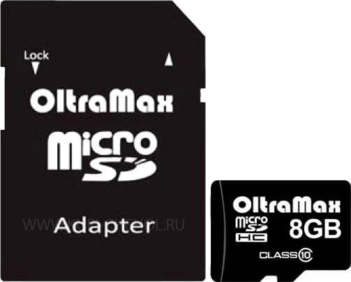 Карта памяти Oltramax microSDHC Class 10 8GB +адаптер