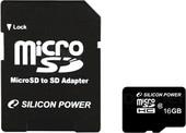 Карта памяти Silicon-Power microSDHC (Class 10) 16 Гб + адаптер (SP016GBSTH010V10-SP)