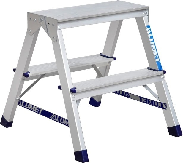 Лестница-стремянка Алюмет алюминиевая двухсторонняя A7202