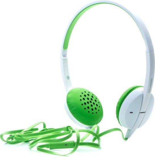 Наушники Harper HN-300 (белый/зеленый)