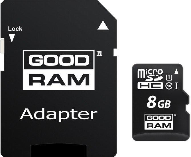 Карта памяти GOODRAM microSDHC (Class 10) UHS-I 8GB + адаптер [M1AA-0080R11]
