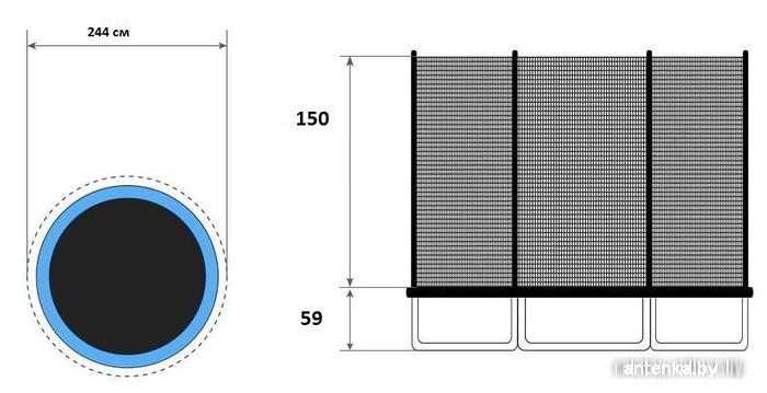 Батут Fitness Trampoline 252 см - 8ft standart