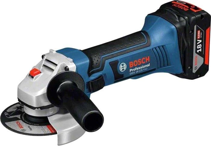 Угловая шлифмашина Bosch GWS 18-125 V-LI Professional 0615990L6G (с 2-мя АКБ 4Ah)