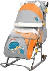 Санки-коляска Nika Ника-детям 6 (ежик, оранжевый/серый)