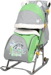Санки-коляска Nika Ника-детям 6 (енот, зеленый/серый)