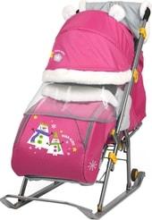 Санки-коляска Nika Ника-детям 6 (снеговик, розовый)