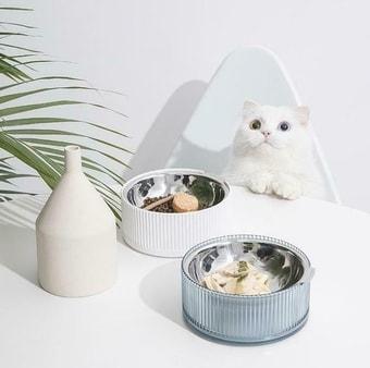 Миска Furrytail Antibacterial Stainless Steel Cat Bowl (голубой)