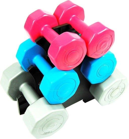 Гантельный ряд Atlas Sport Fitnes Composit 12 кг с подставкой (2×1кг+2×2кг+2×3кг)