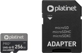 Карта памяти Platinet Pro 3 microSDXC PMMSDX256UIII 256GB + адаптер