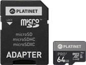 Карта памяти Platinet PMMSDX64UIII 64GB + адаптер