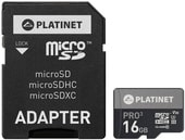 Карта памяти Platinet PMMSD16UIII 16GB + адаптер