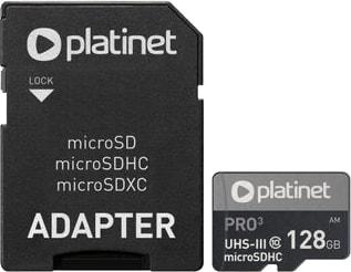Карта памяти Platinet PMMSDX128UIII 128GB + адаптер