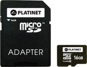 Карта памяти Platinet PMMSD1610 16GB + адаптер