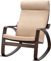 Кресло-качалка Ikea Поэнг (коричневый/шифтебу бежевый) 893.028.29