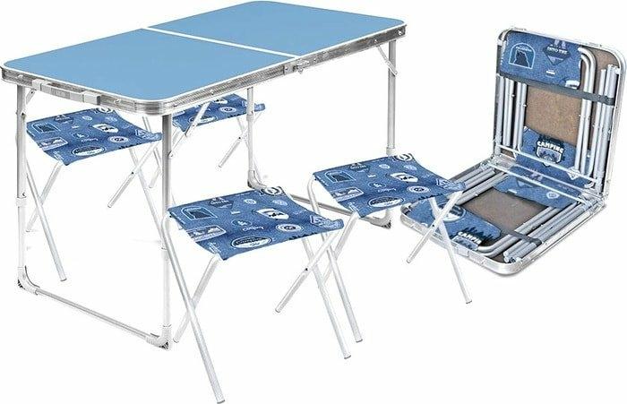 Стол со стульями Nika складной стол влагостойкий и 4 стула ССТ-К2 (голубой)