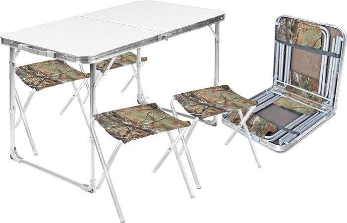 Стол со стульями Nika складной стол влагостойкий и 4 стула ССТ-К2 (металлик)