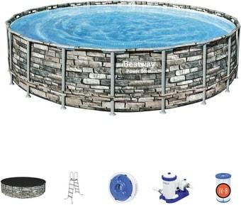 Каркасный бассейн Bestway Power Steel Камень 56883 (610×132)