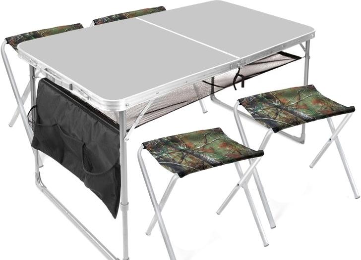 Стол со стульями Nika комплект мебели складной ССТ-К3 (металлик)