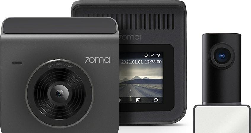 Автомобильный видеорегистратор Видеорегистратор 70mai Dash Cam A400 + камера заднего вида RC09 (серый)