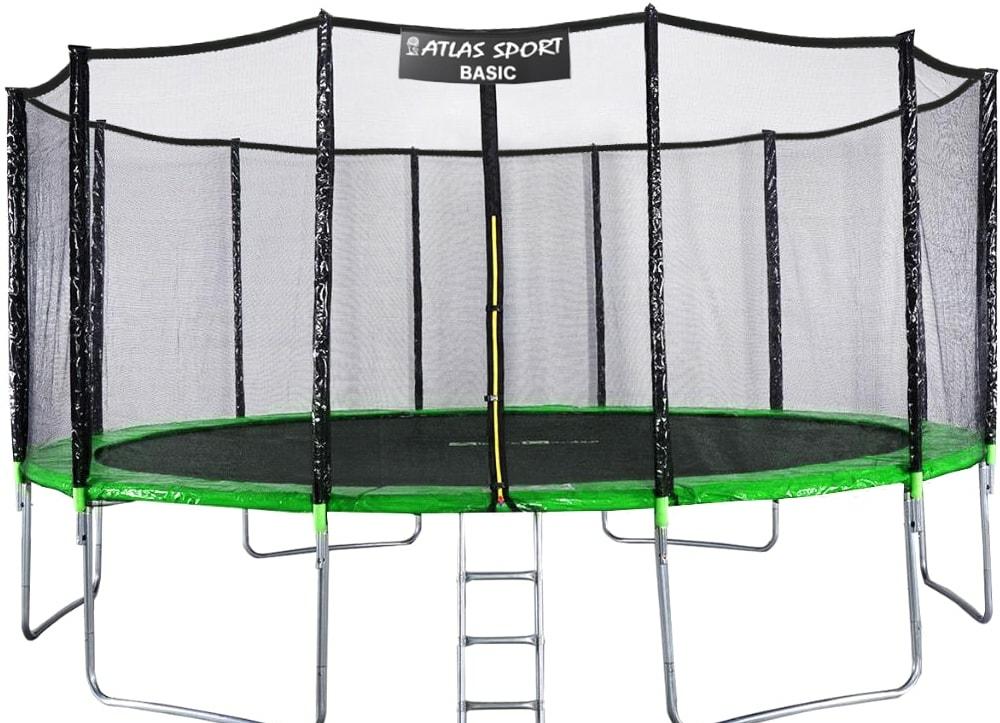Батут Atlas Sport 490 см — 16ft Basic (с лестницей, зеленый)