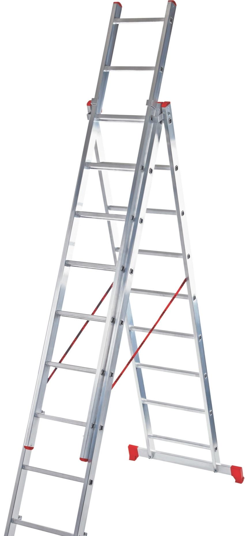 Лестница-стремянка Новая высота NV 223 алюминиевая трёхсекционная 3×8 ступеней
