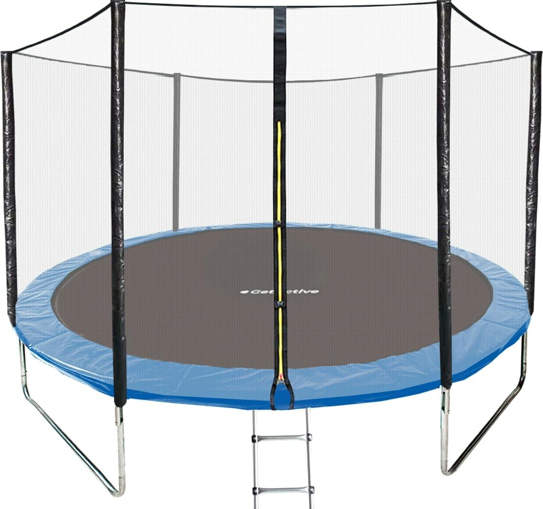 Батут GetActive Jump 8ft — 252 см с лестницей, внешней сеткой (синий)