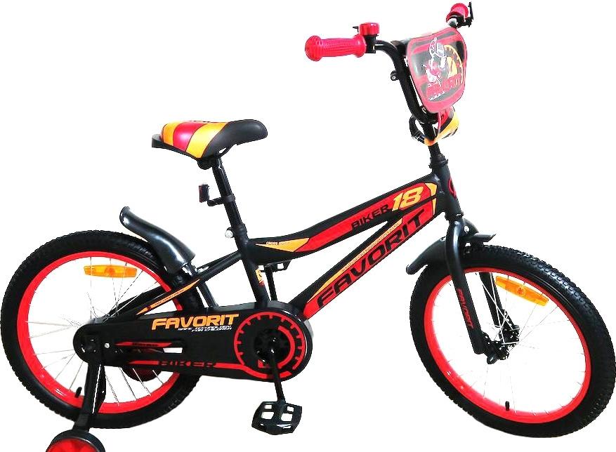 Детский велосипед Favorit Biker 18 (черный/красный, 2019)