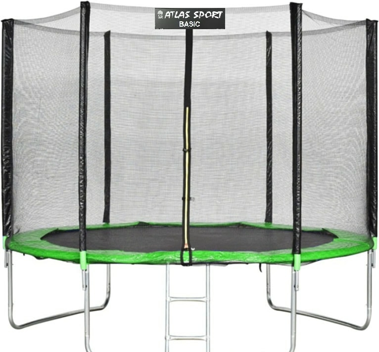 Батут Atlas Sport 252 см — 8ft Basic (с лестницей, зеленый)