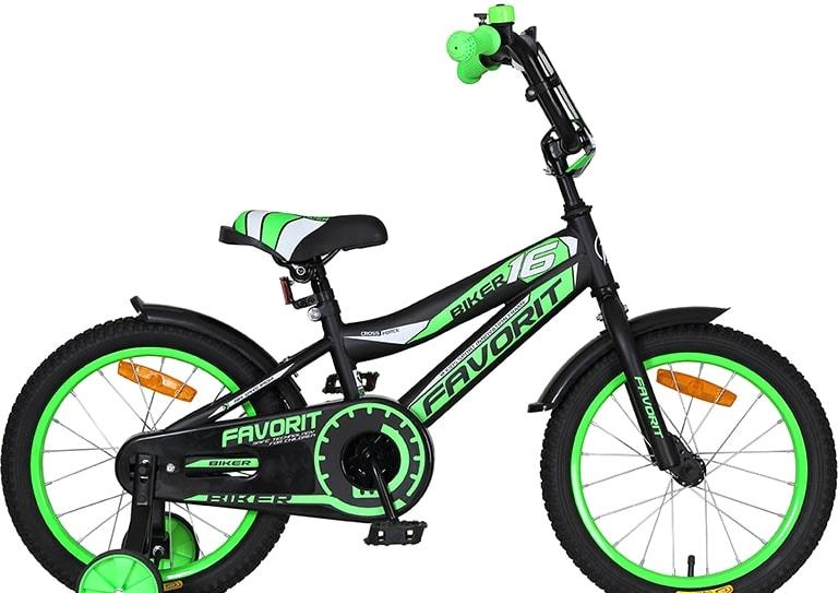 Детский велосипед Favorit Biker 16 2020 (черный/зеленый)
