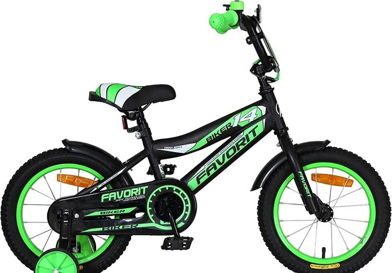 Детский велосипед Favorit Biker 14 2020 (черный/зеленый)