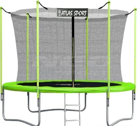 Батут Atlas Sport 252 см — 8ft (с лестницей, внутренняя сетка, зеленый)