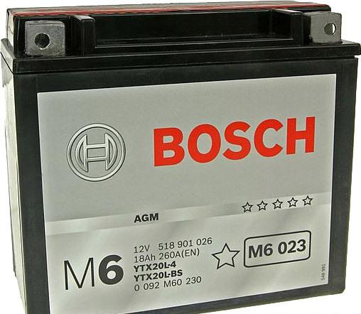 Мотоциклетный аккумулятор Bosch M6 YTX20L-4/YTX20L-BS 518 901 026 (18 А·ч)