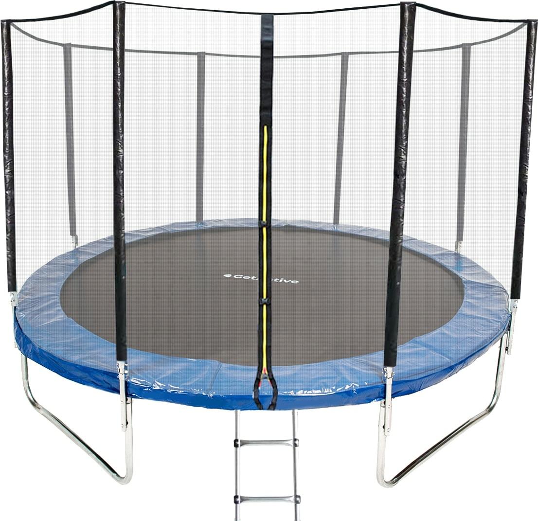 Батут GetActive Jump 10ft — 312 см складной, лестница, сетка (синий)