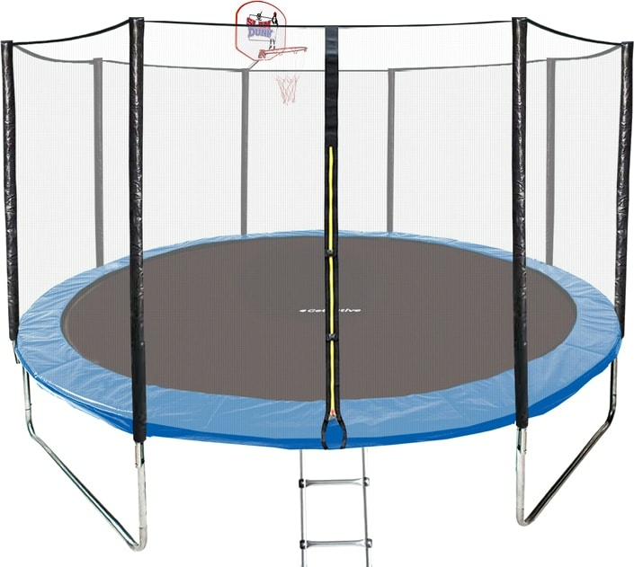 Батут GetActive Jump 14ft — 435 см лестница, сетка, кольцо (синий)